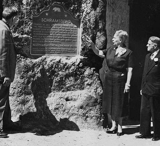 Dedication of the state historical landmark plaque for Schramsberg Winery on December 31, 1956