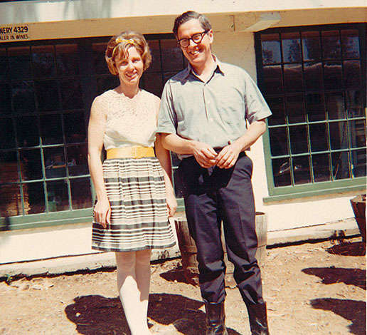 Jack and Jamie Davies as a young couple in 1969 at Schramsberg