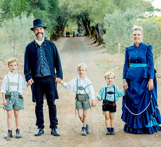The Hugh Davies family in vintage German costume for Schramsberg's 150th Anniversary
