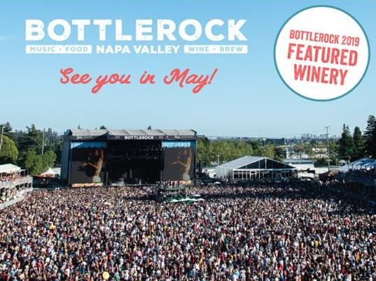 BottleRock in Napa, California in May 2019, announcement for featured winery