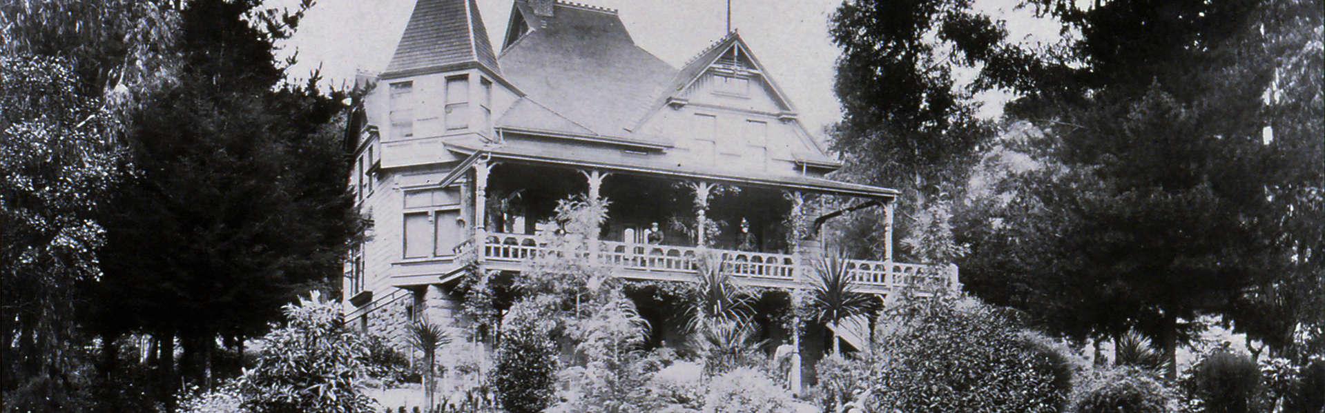 J. Schram Victorian house and formal front gardens, circa 1875