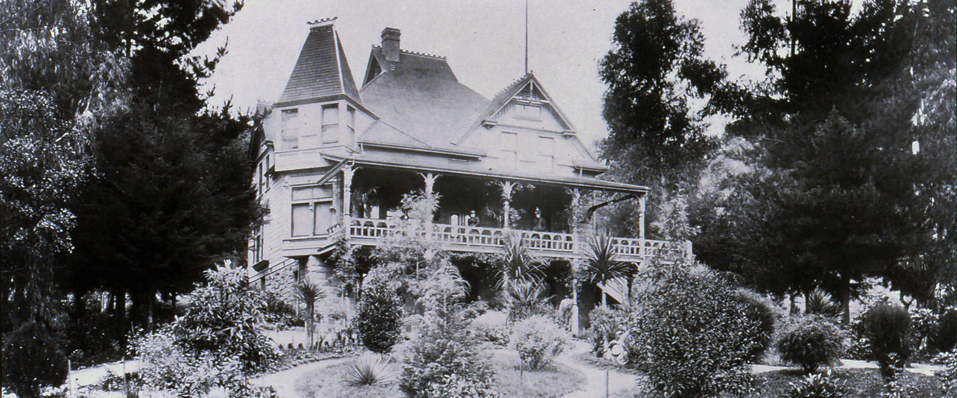 J. Schram Victorian house and formal front gardens, circa 1875