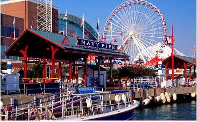 Navy Pier with Ferris wheel on waterfront of Chicago, Illinois