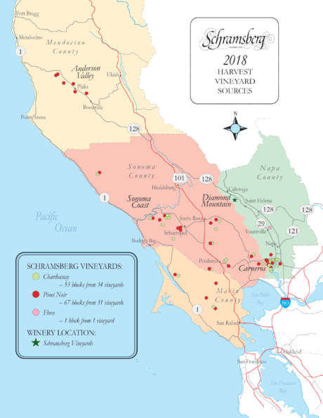 Map of the 2018 harvest vineyard sources for Schramsberg Vineyard, showing locations of Chardonnay and Pinot Noir vineyards, from four Northern California counties.