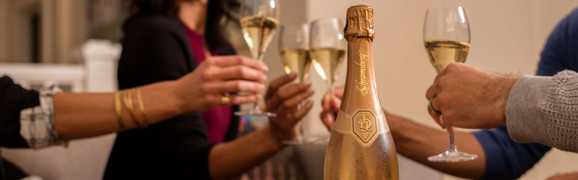 Living room toast with Schramsberg Brut Rosé