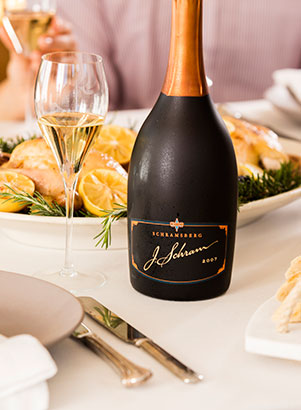 Schramsberg's J. Schram sparkling wine paired with rosemary lemon chicken