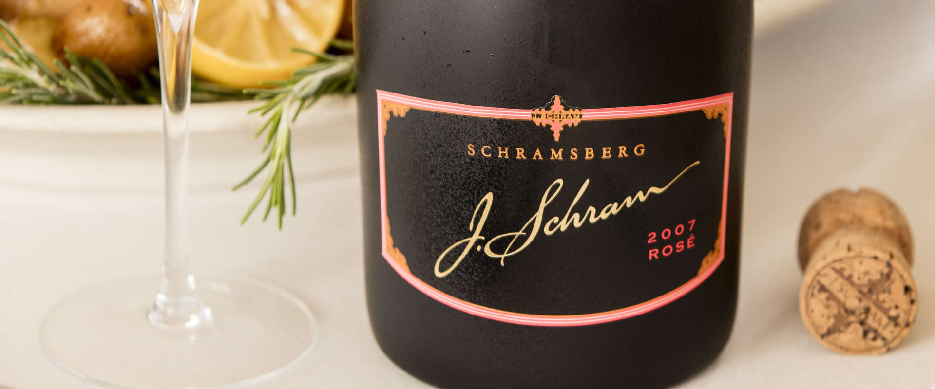 Schramsberg 2007 J. Schram Rosé sparkling wine paired with rosemary lemon chicken