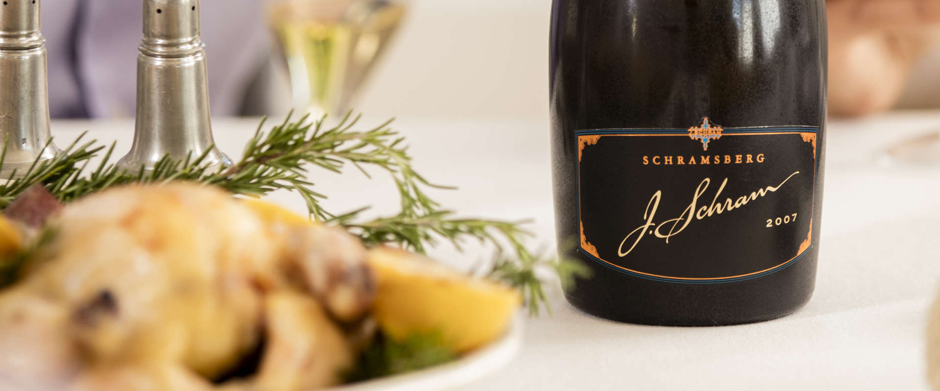 Schramsberg 2007 J. Schram sparkling wine paired with rosemary lemon chicken
