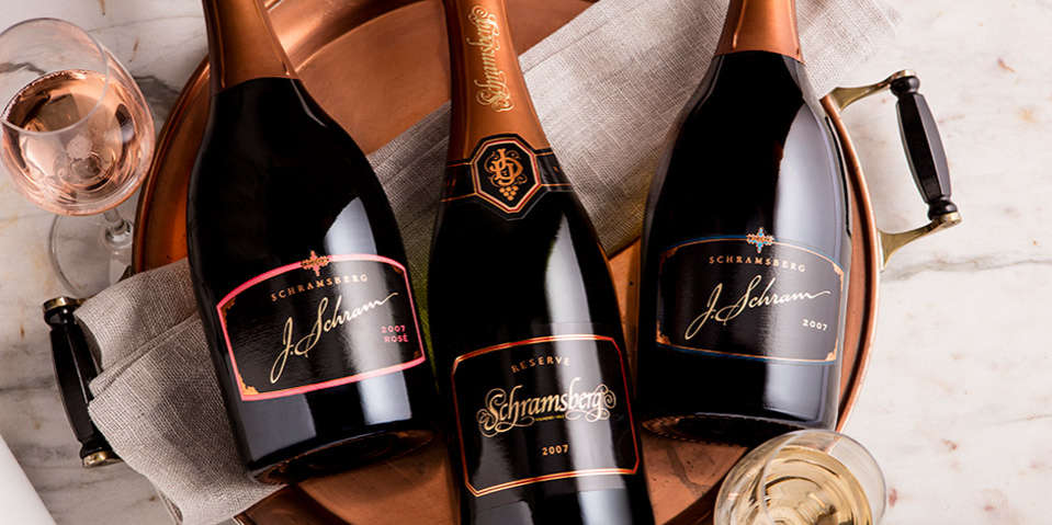 Display of the 2007 vintage of Schramsberg J. Schram Rosé, Reserve, and J. Schram