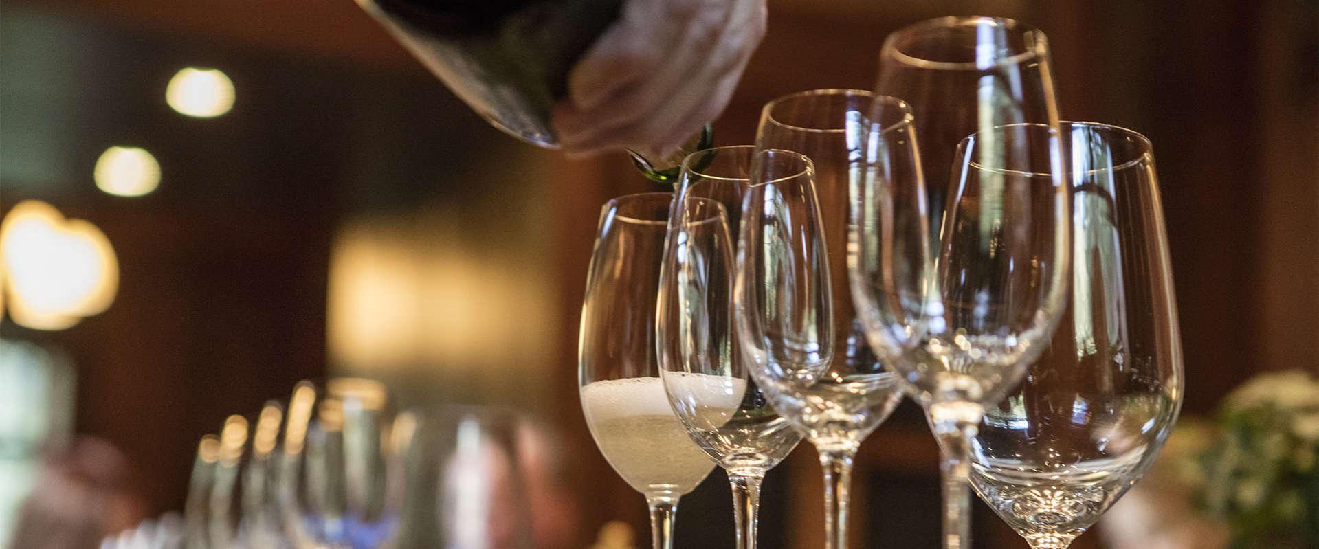 Schramsberg sparkling wine being poured for a tasting
