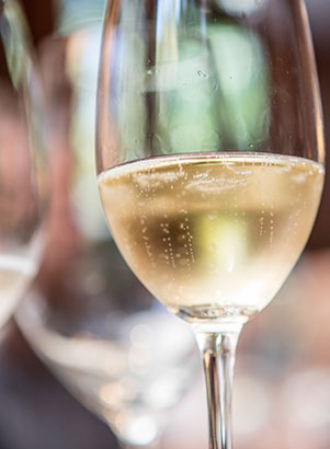 Tiny bubbles floating to the top of glasses filled with Schramsberg sparkling wine