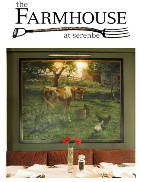 Logo and Image of dining room at The Farmhouse at Serenbe
