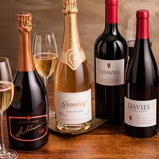 Display of J. Schram Rosé, Blanc de Noirs, J. Davies Estate Cabernet Sauvignon and Davies Vineyards Pinot Noir